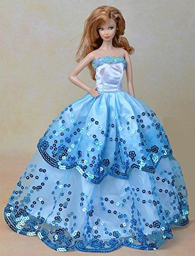 Youvinson Verschiedene Handmade Brautkleider und Kleider für Barbie-Puppen (Blau 2) (Gorgeous Kleider Party)