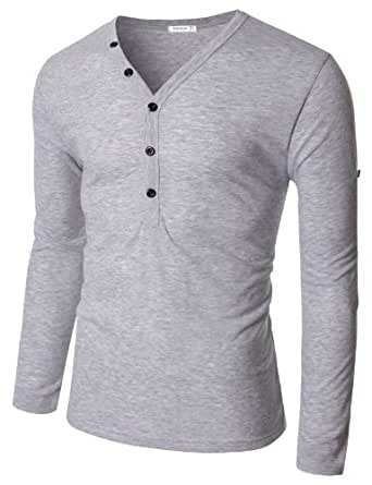 Doublju_uk Mens Henley T-shirts with Button Placket GRAY (EU-XL)