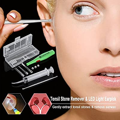 Anself Tonsil Stone Remover Kit LED Earpick Stainless Steel Earwax Remover with 3 Tips Irrigator Clean