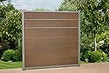 DeToWood WPC Zaun Royal mit Zierleisten ca. B 945 x H188 cm, Sichtschutzzaun, mit 6 Pfosten und Zubehör Farbe: Braun/Silber