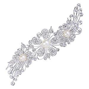 Clearine Damen Boho Stil Hochzeit Braut Kristall Blume Ivory-Farbe Künstliche Perlen Bling Haarkamm Haarschmuck