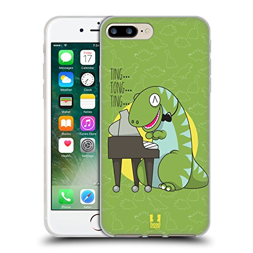 Head Case Designs Piano T Rex Dino Musikeros Cover Morbida In Gel Per Apple iPhone 7 / iPhone 8 Piano T Rex