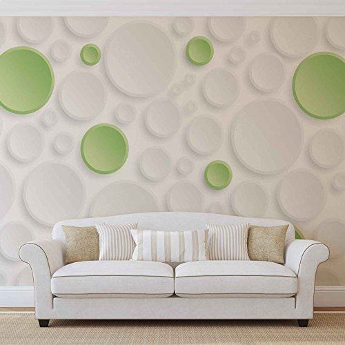 Abstrakt Grün Grau Kreise - Forwall - Fototapete - Tapete - Fotomural - Mural Wandbild - (3033WM) - XL - 208cm x 146cm - VLIES (EasyInstall) - 2 Pieces (Der Grün Kreis)