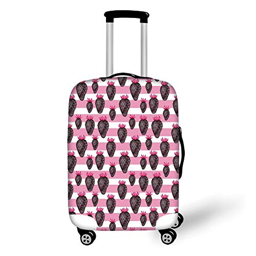 Travel Luggage Cover Suitcase Protector,Fruits,Pop Art Stylized Strawberries on Creative Stripes Illustration Decorative,Baby Pink Magenta Charcoal Grey,for Travel XL - Pink Plaid Protector
