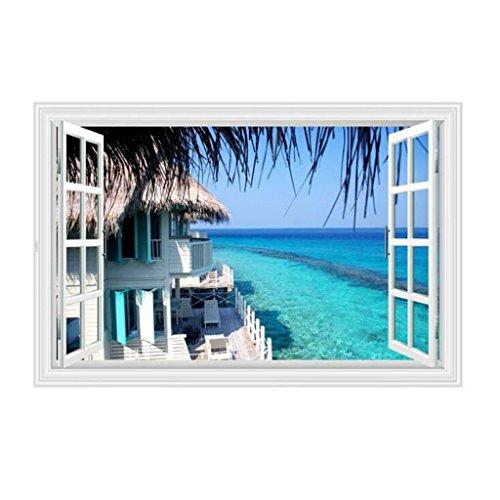 Longless Ver Vista Mar, plano 3D falsas ventanas, paredes, pegatinas pegatinas para la decoración del hogar, dormitorio adhesivos murales