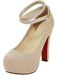Azbro Mujer Zapato Bomba de Tacón Alto Correa Cruzada Plataforma con Puntera Redonda