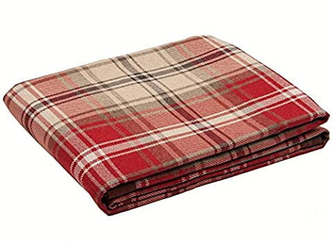 McAlister Textiles Angus   Long Shabby Chic Thick Tartan Check Brick Red & White Bed Spread Sofa Runner Throw   130 x