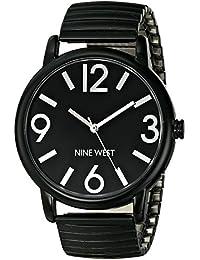 Nine para mujer NW West/1571bkbk negro correa elástica de reloj