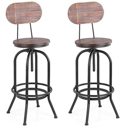 Ikayaa sgabelli da bar, 2 sgabello industriale style bar sgabelli altezza regolabile girevole cucina sedia da pranzo pinewood top + metallo con schienale (2 pezzi)
