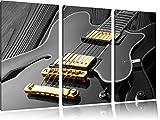 elegante E-Gitarre schwarz/weiß 3-Teiler Leinwandbild 120x80 Bild auf Leinwand, XXL riesige Bilder fertig gerahmt mit Keilrahmen, Kunstdruck auf Wandbild mit Rahmen, günstiger als Gemälde oder Ölbild, kein Poster oder Plakat