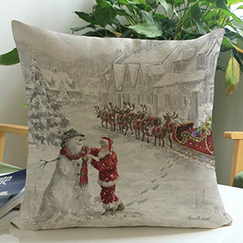 45x45cm Square Pillowcase,Kingko® Christmas White World Scene Dyeing Sofa Bed Festival Home Decor Pillow Case Car Cushion Cover (B)