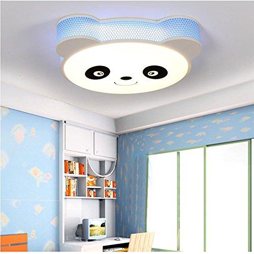 Kreative Kinderzimmer LED Panda Eisen Kronleuchter Dimmbare Deckenleuchte Schlafzimmer Acryl Pendelleuchte (Farbe : Blau) -
