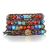 CrystalTears 7 Chakra Edelstein Perlen Armband Yoga Wickelarmband Healing Reiki Geflochte Armreif