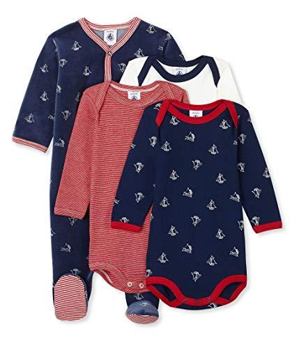 Petit Bateau Baby-Jungen DORS BIEN + 3 Bodies_5043800 Bekleidungsset, Mehrfarbig (Variante 1 00), 86 (Herstellergröße: 18M/81cm)
