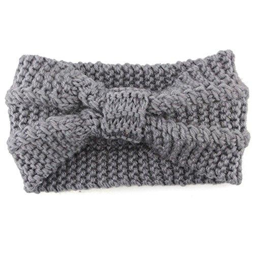TOPGKD beliebt Frauen stricken Stirnband häkeln Winter wärmer Haarband Haarband Headwrap GYIns umsatzstark(Grau)