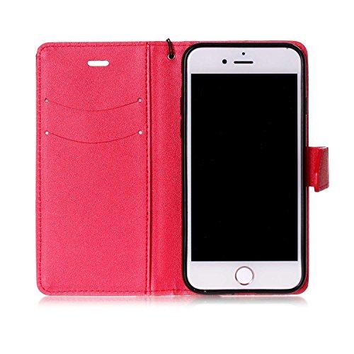 Case iPhone 7 Hulle , SpiritSun Ledertasche Schutzhulle for iPhone 7 (4.7 Zoll) Folio PU Leder Tasche Case Cover Bookstyle mit Standfunktion und Kredit Kartenfacher - Schwarz + Lila Schwarz + Rot
