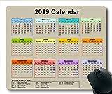 Tapis de Souris Calendrier 2019 Noir, Tapis de Souris Tapis de Souris Gaming, Calendrier Agenda 2019 avec détails de Vacances