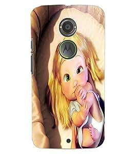 ColourCraft Cute Baby Girl Design Back Case Cover for MOTOROLA MOTO X2