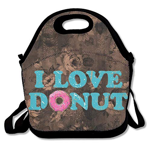 fengxutongxue I Love Donut Insulated Lunch Bag with Zipper,Carry Handle and Shoulder Strap for Adults Or Kids Black