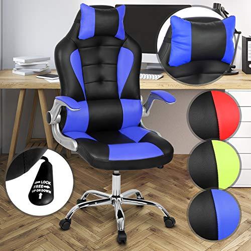 MIADOMODO Ergonomischer Bürodrehstuhl | mit Kopfkissen und verstellbaren Armlehnen, höhe Rückenlehne, höhenverstellbar, mit Farbwahl | Gaming Computer Stuhl, Schreibtischstuhl, Bürosessel (Blau) -