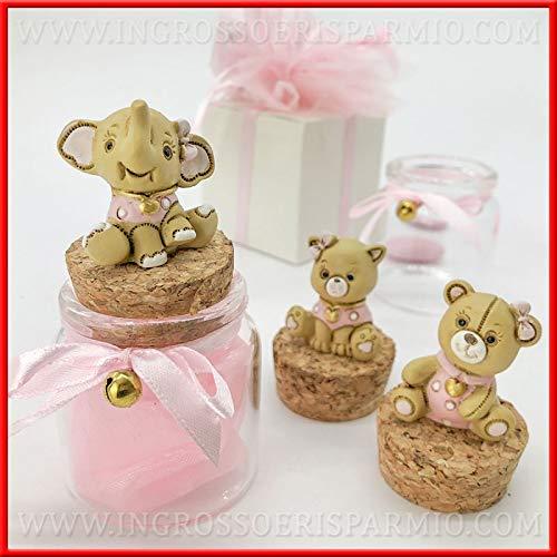 Ingrosso e risparmio barattolini portaconfetti in vetro con tappo in sughero e animaletti gatto, elefante, orso rosa bomboniere nascita bimba (con confetti rosa)