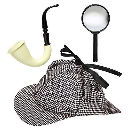 Widmann 01155 Detektiv Set, Unisex- Erwachsene, Grau/Weiß, Einheitsgröße