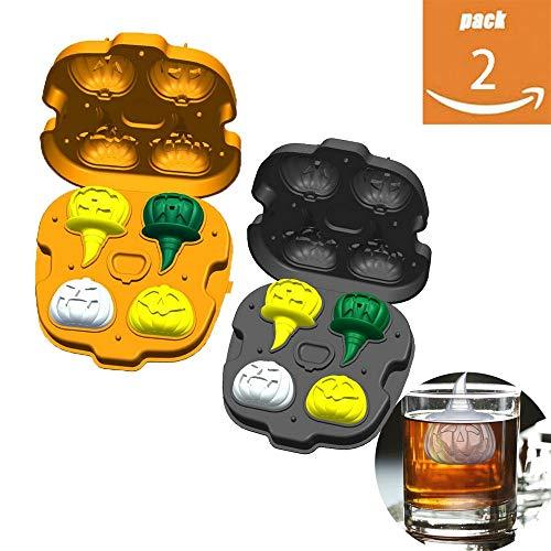 CHYOOO Eiswürfelform 2 Stück Halloween Kürbis Eiswürfel Food Grade Silikon Ohne BPA Wiederverwendbar Eiswürfelbehälter Geeignet Für Küchenparty Bar Whisky,setof2colors