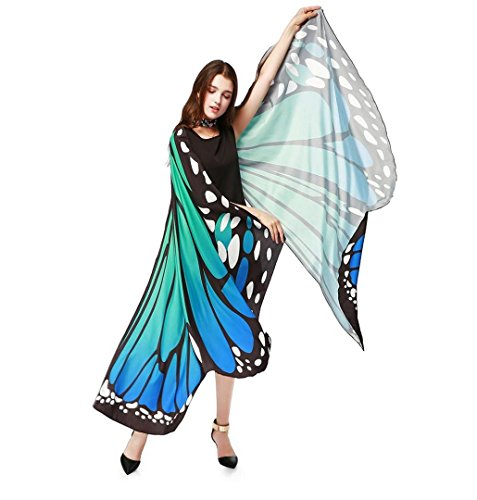 ZEZKT Damen Herren Halloween Umhang Schmetterling, 2017 Halloween Kostüm Cosplay Christmas Karneval Party Halloween Fest (Blau)