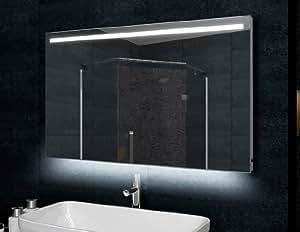 Badspiegel mit LED Beleuchtung 120x60 Aluminiumrahmen