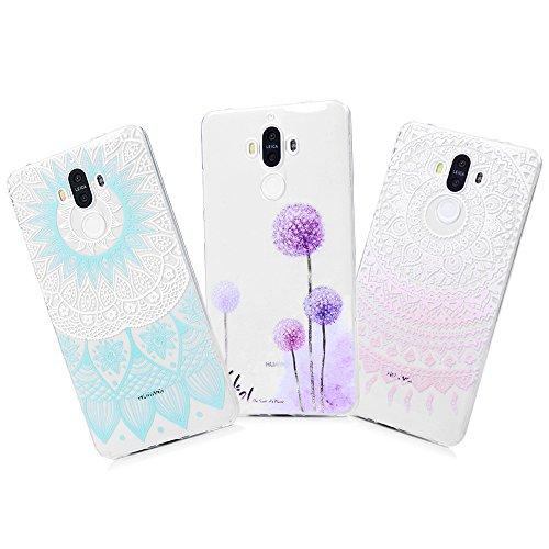 YOKIRIN Huawei Mate 9 Crystal Case Mate 9 Schutzhülle Slim Fit TPU Silikon Handyhüll Hülle Cover Handytasche Etui Handycase Tasche Silikonhülle Transparent Bunte Rosa Totem Case-mate Skins