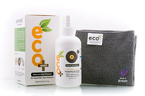 Price comparison product image Ecomoist Vinyl Cleaner Kit 250ML with Fine Microfiber Towel , Made in the Uk. Green product.