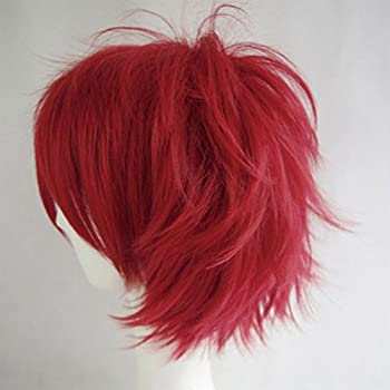 Cosplay Wigs Short Anime Costume Party Full Wigs Dark Red Fashion Straight Synthetic Hair For Women Men 2