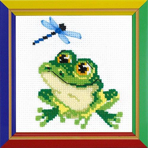 Riolis HB159 Kreuzstich-Set Kleiner Frosch, Baumwolle, Mehrfarbig, 15 x 15 x 0.1 cm