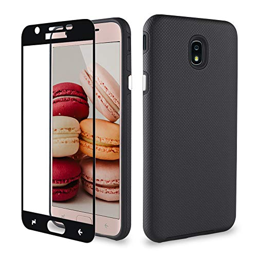 J7 2018 Samsung Case/J7 Prime/J7 Aero/J7 Star/J7 Refine/J7 Top Case, ipush Full Body Protective Shockproof Case Cover with Tempered Glass Screen Protector, schwarz