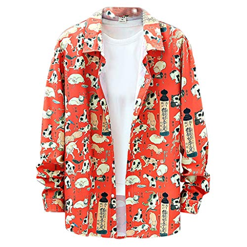 serliyHerren Hemd Oversize Business Fashion Casual Muster-beiläufige Art und Weise, die Revers-langärmliges Shirts Blume Druckt Männer Große Größen Langarm Hemden (Gold Rush Kostüm)
