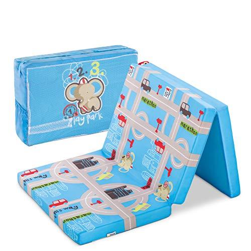 Hauck Sleeper Reisebett-/Schaumstoff Matratze, 60 x 120 cm, 6 cm hoch, 3-teilig zusammenklappbar, faltbar, waschbar, inkl. Transporttasche, Hippo (blau) -