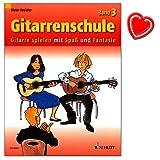 Gitarrenschule von Dieter Kreidler Band 3 - Gitarre spielen mit Spaß und Fantasie - Neufassung - Lehrmaterial mit bunter herzförmiger Notenklammer