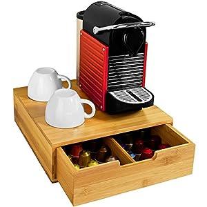 Cassetto Porta Cialde Contenitore Capsule Caffe' Bustine Tè In Legno di Bambù cassetto Estraibile 30-60 Posti Colore Bamboo Naturale Dimensioni 31 x 30,5 x 9,5 cm