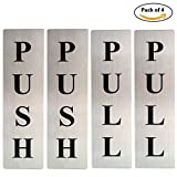 #9: Self Adhesive Stainless Steel PUSH & PULL Metal Signage Board, 4 Pieces