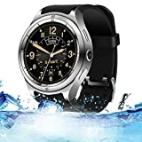 Lu Smartwatch Wrist Watch IP67 Waterproof IPS Full Shijiao Touch Screen Heart Rate Monitor Support 3G Internet Access GPS Navigation and Positionierung,Silver