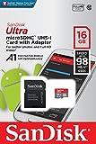 SanDisk Ultra Scheda di Memoria MicroSDHC da 16 GB e Adattatore, con A1 App Performance, Velocità fino a 98 MB/sec, Classe 10, U1