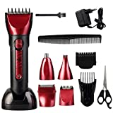 Tezam 5 in 1 Multigroom-Set mit Detailkammaufsatz, Professionelle Haarschneider / Nasen- / Ohrhaarschneider / Detailrasierer / Herrenrasierer, Rot fathers day gifts from daughter son wife fathers day gifts best seller