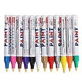 Oipoodde Marker 12Pcs Tutto Colore Pneumatici Permanente Vernice Pen Pneumatici Metallo all'aperto Marcatura indicatore dell'inchiostro Trendy Bianco Pennarello Impermeabile Universale