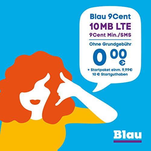 Telefónica Germany GmbH & Co. OHG Blau 9 Cent (Sim, Micro-Sim und Nano-Sim), Ohne Vertragslaufzeit, 10 MB/Monat mit LTE, Nur 9 Cent/Min. in Alle dt. Netze, 0€/Monat, inkl. 10€ Startguthaben, O2 Netz