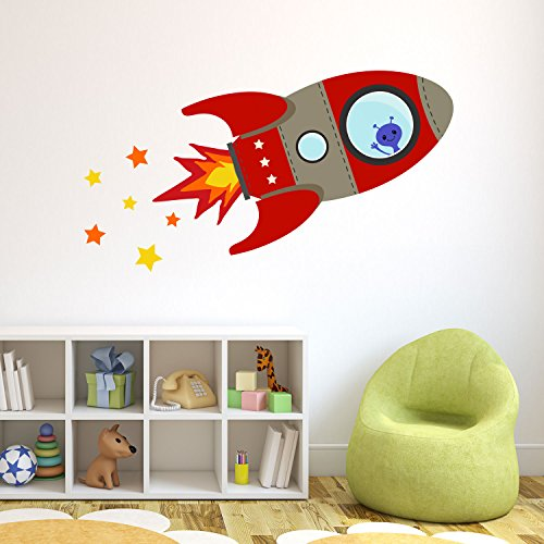 Price comparison product image Flying rocket wall sticker by Stickerscape (Large size) 115cm 75cm - Red colour option