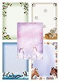 Carta da lettere con animali divertenti, mix di 50 fogli, 5x10 fogli DIN A4 90 g/m² con unicorno, cavalli, pinguini, cane e gatto, uccelli - Mix3