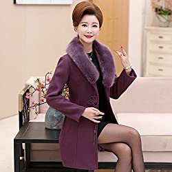 MO Middle - Aged Women 'Autumn and Winter Loaded Woolen Jacket Middle - Aged Mother Loaded Large Yards in the Long Paragraph Woolen Coat by MO