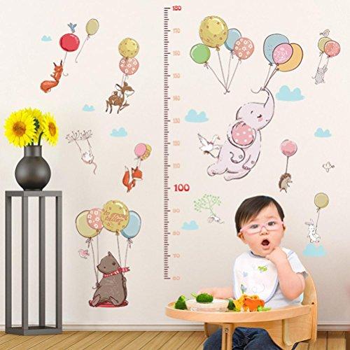 Wandaufkleber Yesmile Höhe Messung Körpergröße Wandbild in Tier Stil Serie Cartoon Animal Wallsticker Wandtattoo für Kinder Messlatte Messen Aufkleber