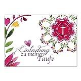 15 x Einladung zur Taufe / Einladungskarten mit Umschlag im Set / Motiv: Aquarell Blumen mit Herz / Baby Taufkarte / Grußkarte / Postkarte /