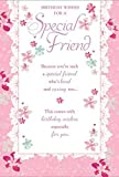 """Special Friend Birthday Card - Bright Pink Flowers & Little Hearts 7.75"""" x 5.25"""""""